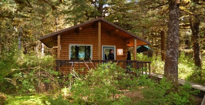 Alaska cabană în pădure